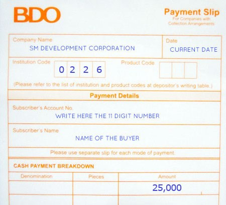 BdoBillsPaymentForm  Condoshop  Your Reliable Online Real